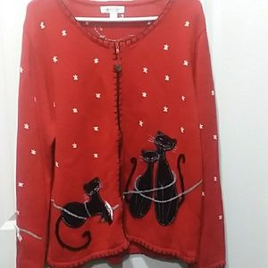 Coldwater Creek Cat Christmas Sweater sz. XL